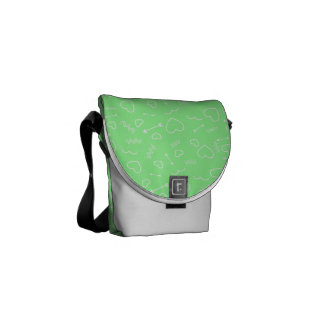 Mint Green and White Valentines Love Heart Arrow Messenger Bag
