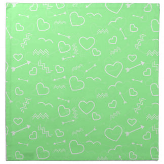 Mint Green and White Valentines Love Heart Arrow Napkin