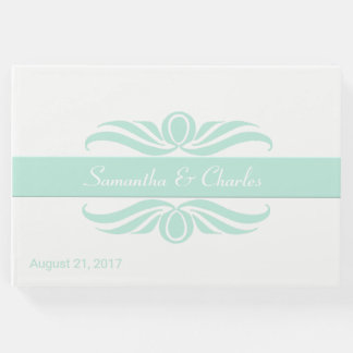 Mint Green and White Wedding Guest Book