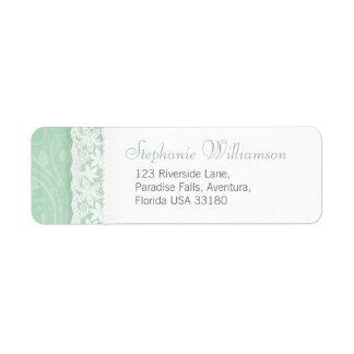 Mint green and white wedding return reply address return address label