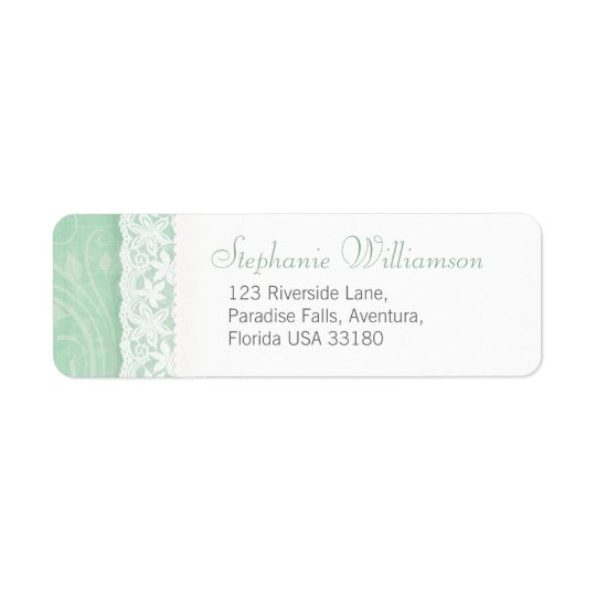 Mint green and white wedding return reply address return address label