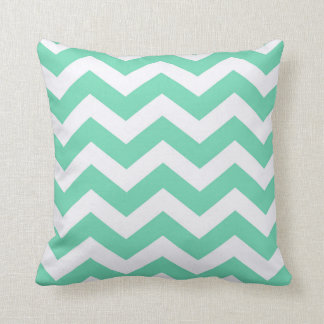 Mint Green and White Zigzag Cushion
