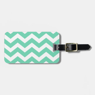 Mint Green and White Zigzags Luggage Tag