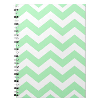 Mint Green and White Zigzags Notebook