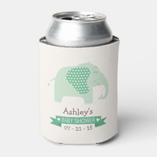 Mint Green Baby Elephant Baby Shower Can Cooler
