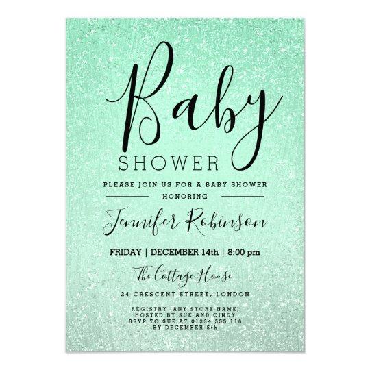 Mint Green Baby Shower Glitter Look Paint Card