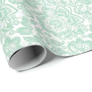 Mint Green Baroque Floral Damasks On White Wrapping Paper