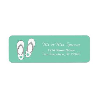 Mint green beach slippers Return Address Labels