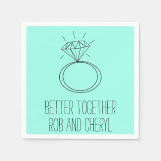 Mint Green Better Together Engagement Party Napkin Paper Napkin