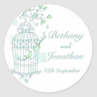 Mint green birds open cage wedding couple sticker