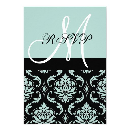 Mint Green Black Damask Wedding RSVP with Initial Invitation