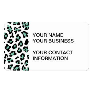 Mint Green Black Leopard Animal Print Pattern Business Card Template