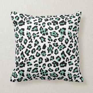 Mint Green Black Leopard Animal Print Pattern Cushion