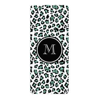 Mint Green Black Leopard Animal Print with Monogra 10 Cm X 24 Cm Invitation Card