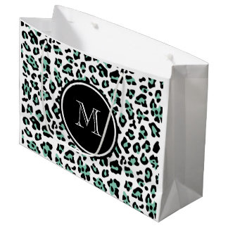 Mint Green Black Leopard Animal Print with Monogra Large Gift Bag