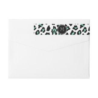 Mint Green Black Leopard Animal Print with Monogra Wrap Around Label