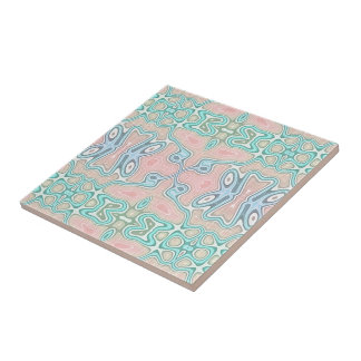Mint Green Blue Pink Retro Nouveau Mosaic Pattern Ceramic Tile