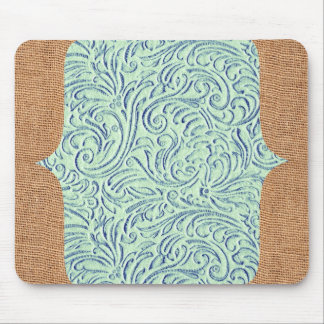 Mint Green Blue Vintage Scrollwork + Burlap Design Mouse Pad