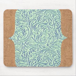 Mint Green Blue Vintage Scrollwork + Burlap Design Mouse Pad