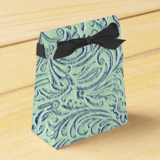 Mint Green Blue Vintage Scrollwork Graphic Design Favour Box