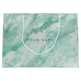 Mint Green Blush Marble Stone Metallic Gift Gray Large Gift Bag