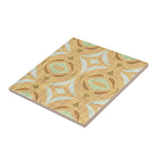 Mint Green Brown Retro Chic Nouveau Mosaic Pattern Tile