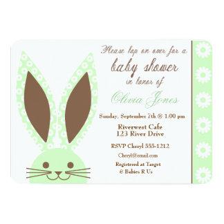 Mint Green Bunny Rabbit Baby Shower Invitation