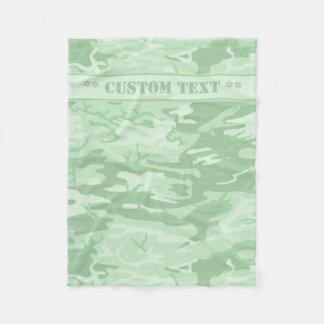 Mint Green Camo w/ Custom Text Fleece Blanket