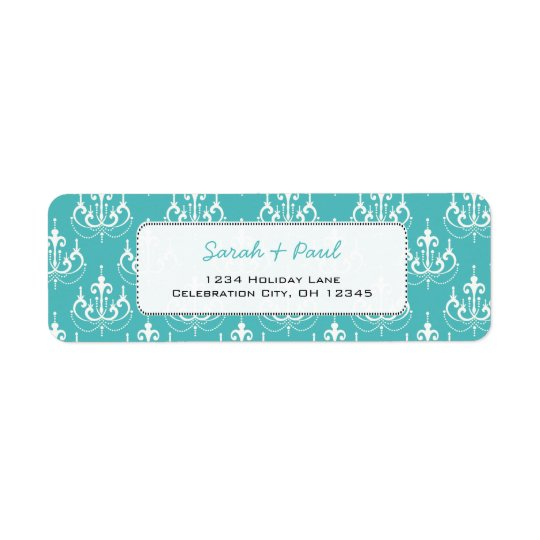 Mint Green Chandeliers  Return Address Label