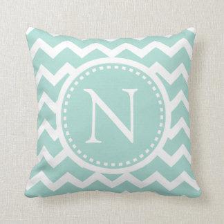 Mint Green Chevron Girly ZigZag Monogram Cushion