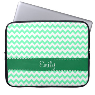Mint Green Chevron Laptop Sleeve
