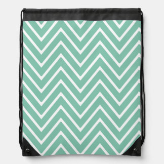 Mint Green Chevron Pattern 2 Drawstring Bag