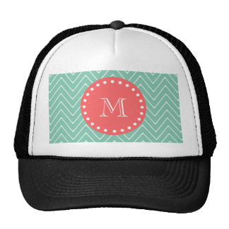 Mint Green Chevron Pattern | Coral Monogram Trucker Hat
