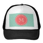 Mint Green Chevron Pattern | Coral Monogram Hats