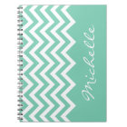 Mint green chevron pattern notebook with name