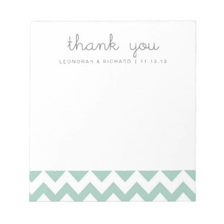 Mint Green Chevron Thank You Notepad