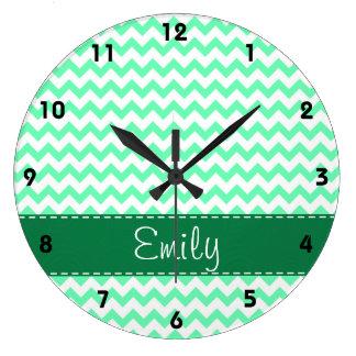 Mint Green Chevron Wall Clocks