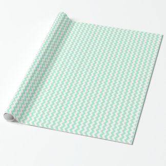 Mint green chevron zig zags zigzag pattern wrapping paper