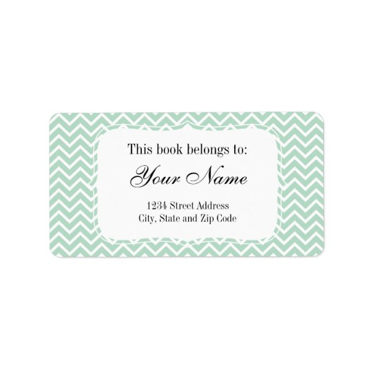 Mint Green Chevron Zigzag Stripes Address Label