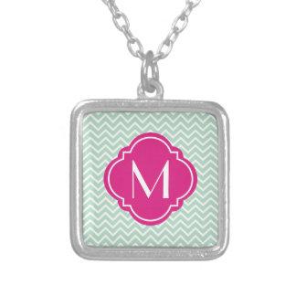 Mint Green Chevron Zigzag Stripes with Monogram Custom Necklace