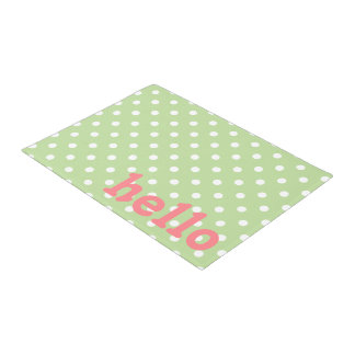 Mint Green Coral Pink and White Polka Dot Doormat
