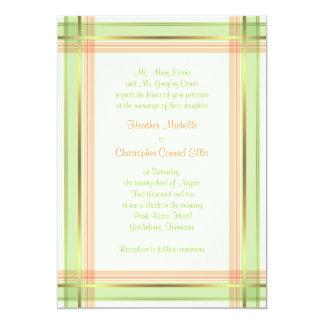 Mint Green Coral Pink Plaid Wedding Invitation