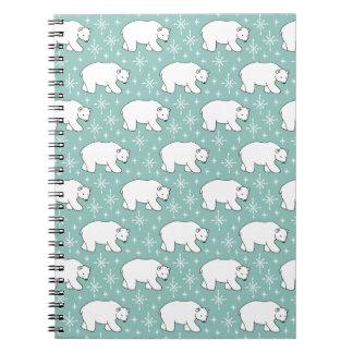 Mint Green Cute Polar Bear Pattern Notebooks
