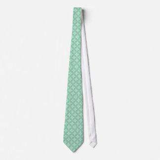 Mint Green Damask Pattern Neck Tie