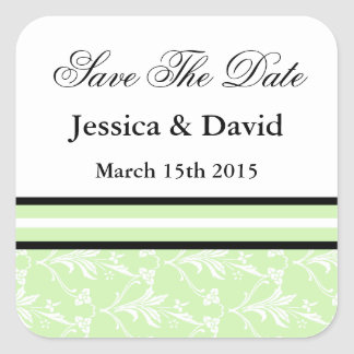 Mint Green Damask Save The Date Stickers