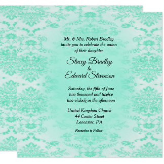 Mint Green Damask Wedding Invitation