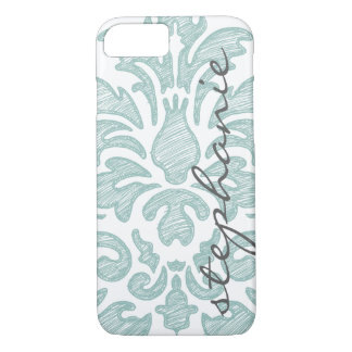Mint Green Damask with Custom Name iPhone 8/7 Case