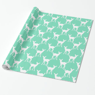 Mint Green Deer Pattern Wrapping Paper