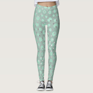 Mint Green Dots Silver Gray Pastel Confetti Glam Leggings