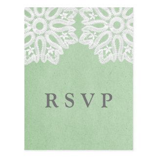 Mint Green Elegant Lace RSVP Postcard